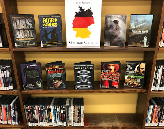 """A picture of the library's """"German Cinema"""" DVD display."""