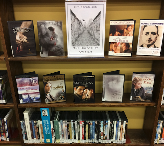 A photo of the library's Holocaust Films DVD display.