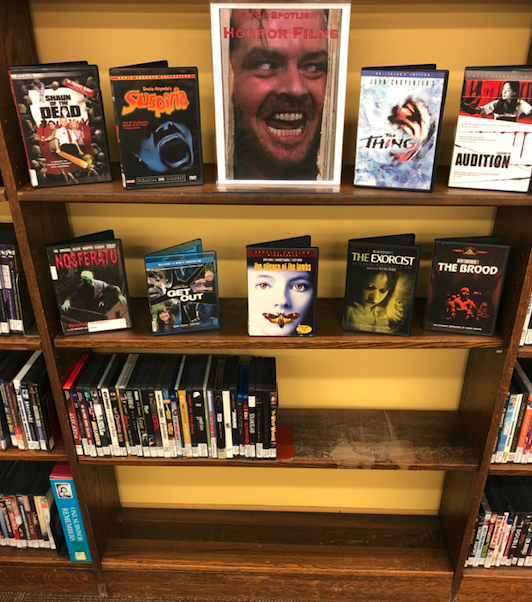 DVD display of horror movies.