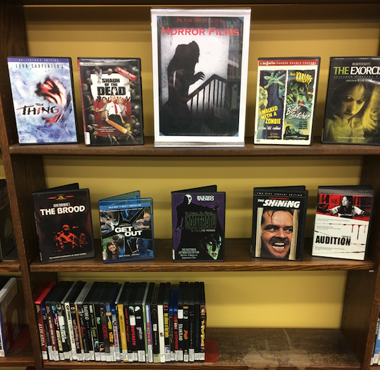 A photo of the library's horror movies display.
