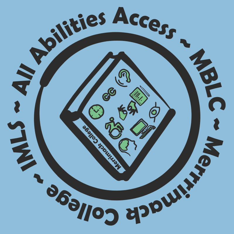 All Abilities Access logo--text in circle surrounding book with icons of differing abilities