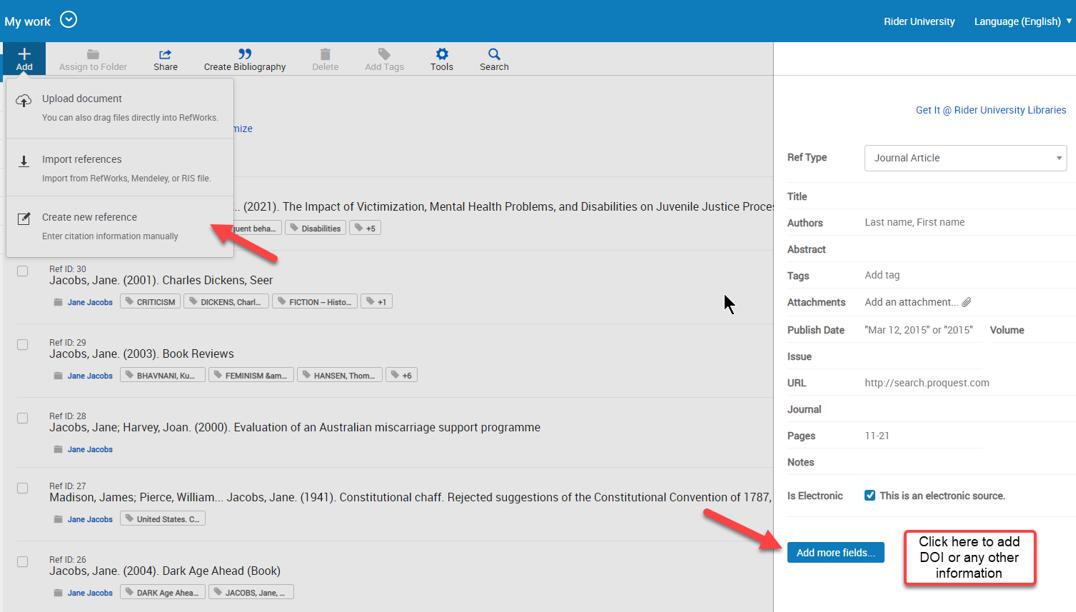 RefWorks add citation including DOI