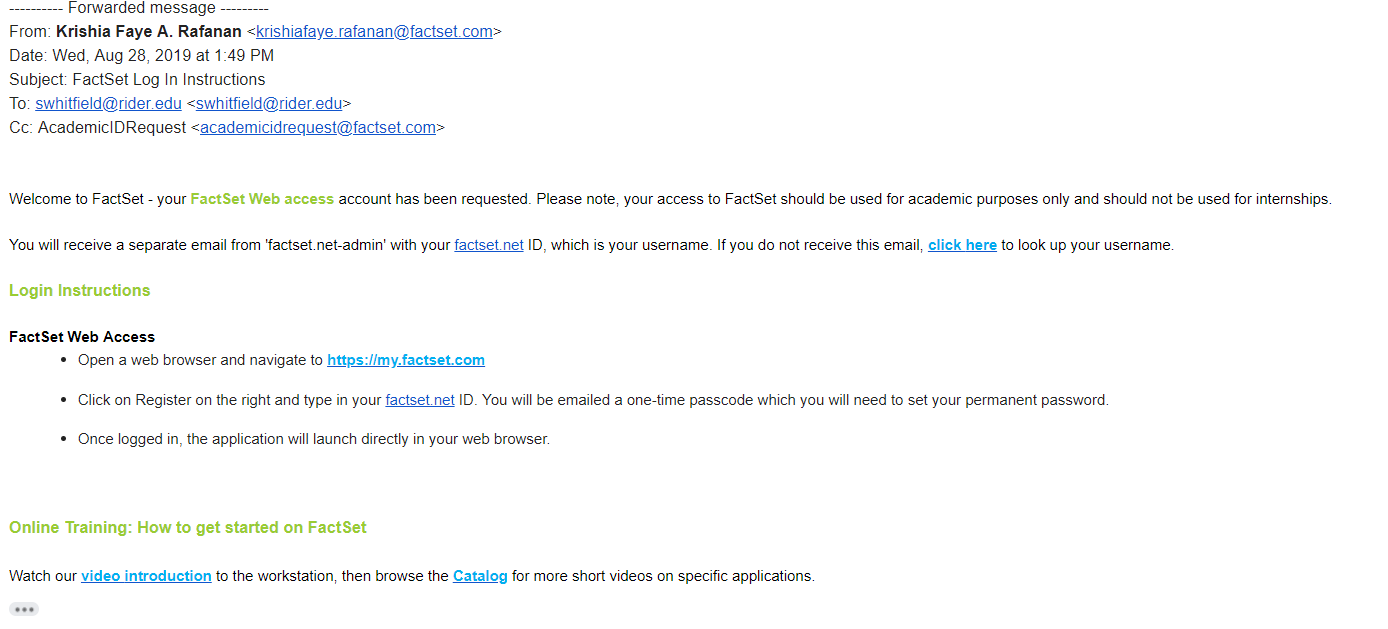 screenshot of email from FactSet