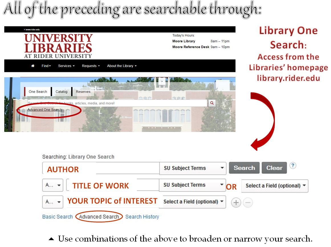 Screenshots of how to get to Advanced search and searching library one search
