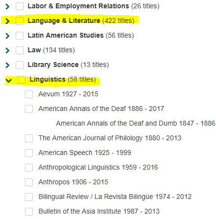 Shows screenshot of Language & Literature (422) titles highlighted, as well as Linguistics (58 titles) highlighted, with the menu exploded to show individual linguistic journal titles displayed, which may be selected.