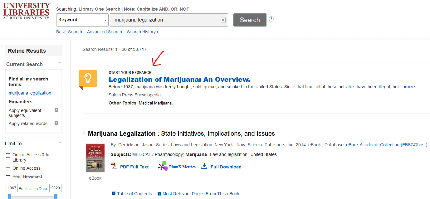"Shows Research Starter for search ""marijuana legalization"""