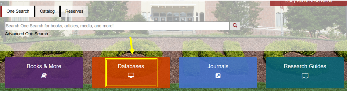 Databases button on library home page is highlighted with a yellow box with a yellow arrow pointing to it.