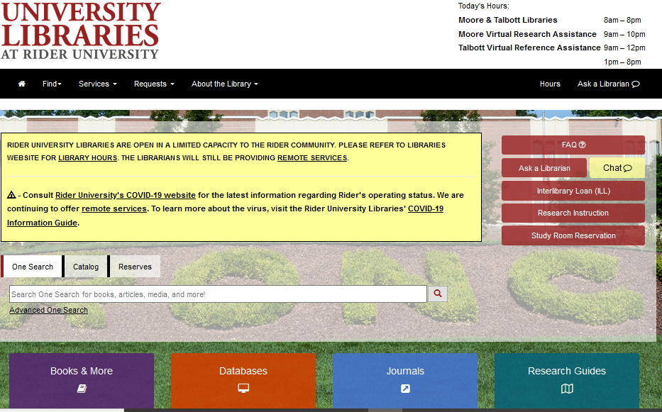 View of Library Homepage with search boxes and buttons, dropdown menus and today's hours.