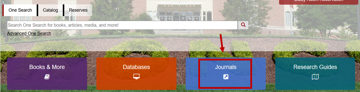 Library home page with red arrow and red box pointing the blue Journals button.
