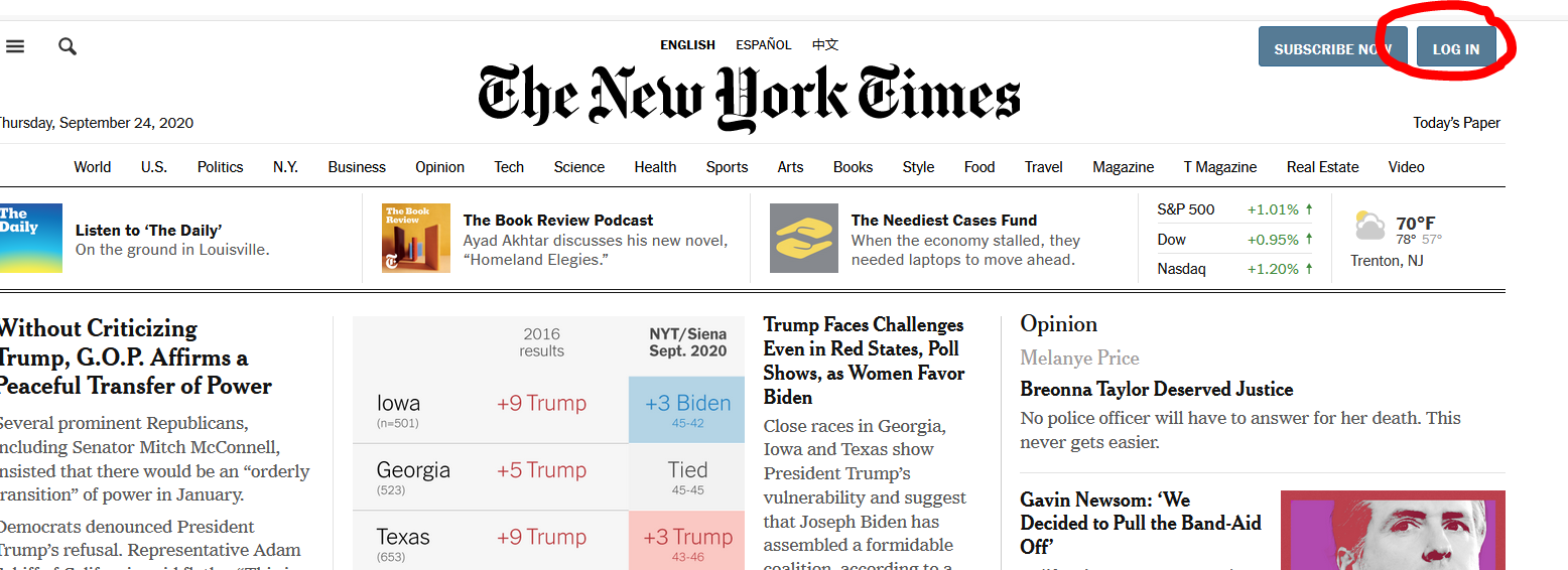 New York Times homepage with login button circled in red in upper right hand side of screen.