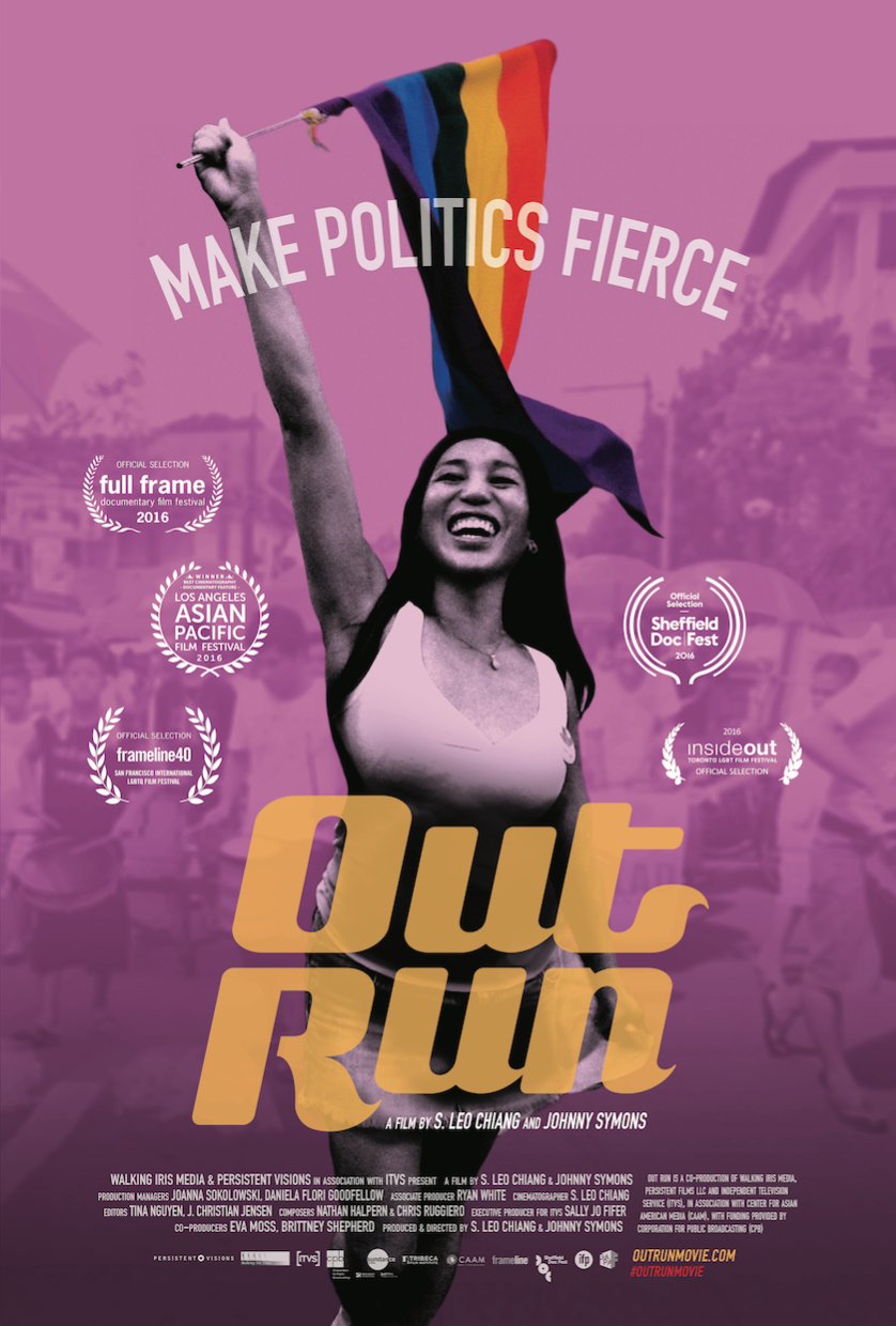 Poster/cover image for the film, featuring a person with long dark hair proudly holding up a rainbow flag, against a pink tinted photograph of a crowd on the streets.