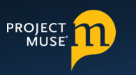 Project Muse log (white letters on a dark blue/black background, with a lower case styilized m in a gold quote bubble)