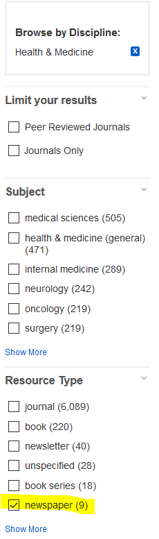 Browse by Discipline: Health & Medicine is selected. Resource Type: News is highlighted.