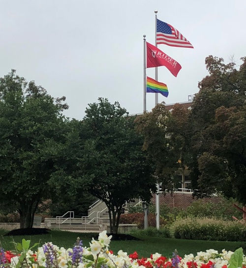 The pride flag flies in front of Moore Library on National Coming Out Day, October 11, 2018.