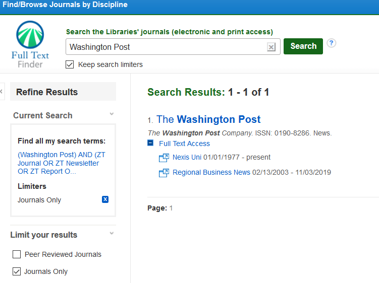 Search and results for Washington Post in Journals. Lists access through Nexis Uni and Regional Business News.