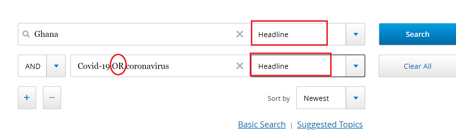 Access World Search Advanced search - limit keyword search in Headline