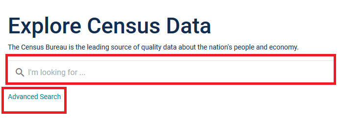 data.census.gov search interface