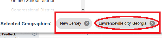 delete the incoorrect geography by clicking the x next to the geography