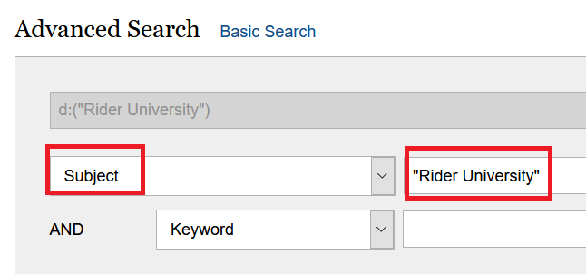 "Library Catalog search ""Rider University"" by Subject"