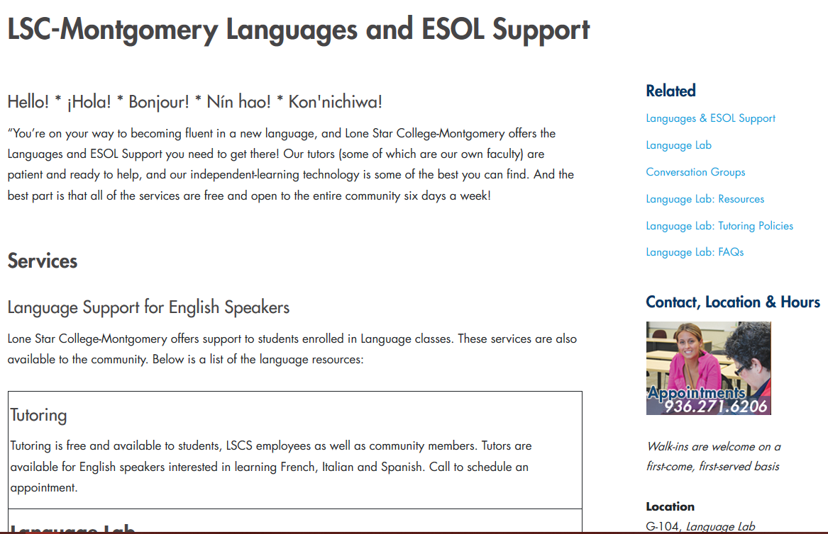 LSC-Montgomery Languages and ESOL Support