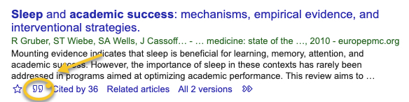 "Click the ""quote"" below the item in Google Scholar."