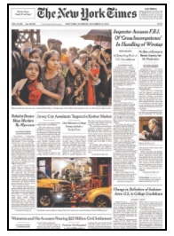 New York Times sample front page.