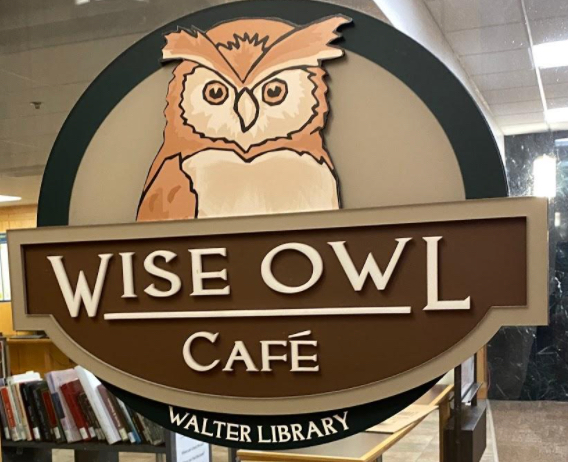 Wise Owl Cafe sign.