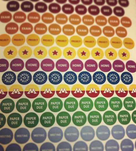 Image of stickers to help with organizing your semester.