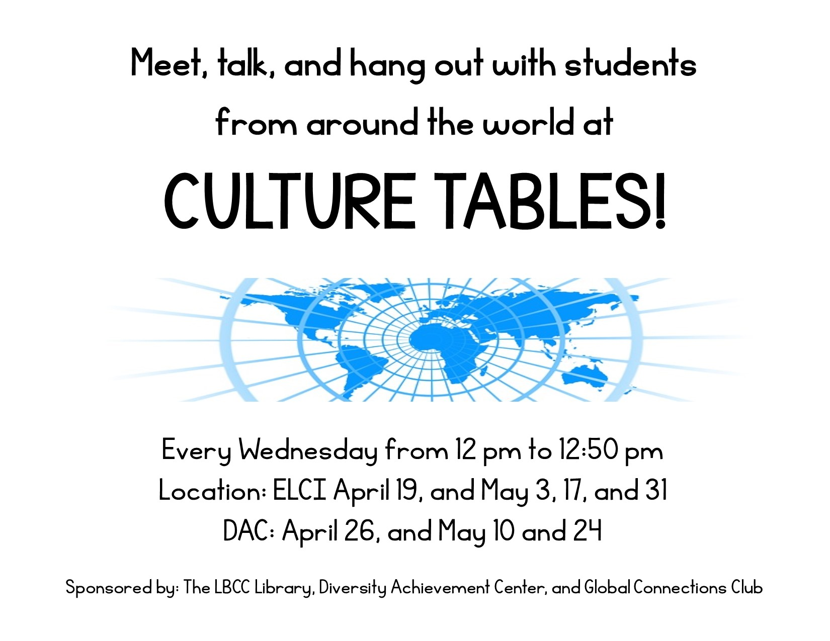 Image of flyer used for Culture Tables