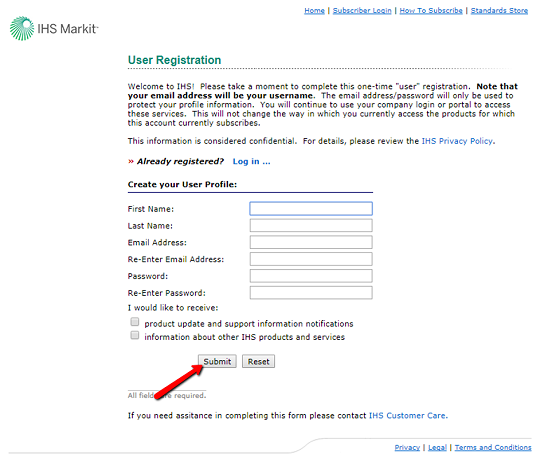 IHS registration form screen shot with location of submit button - bottom left