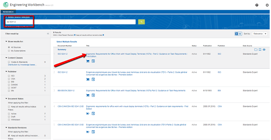 IHW Markit Standard workbench screenshot with search term boxed and pointer to hyperlinked title of standard