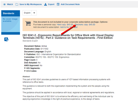 Screenshot of IHS Markit document viewer with pointer to electronic copy link near top right.
