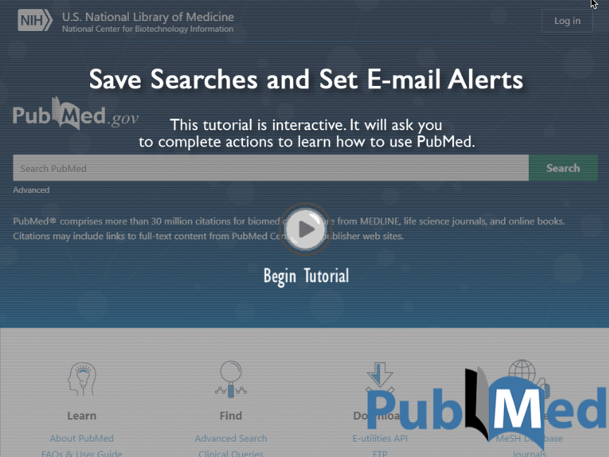 [PubMed Tutorial title] Save searches and set e-mail alerts