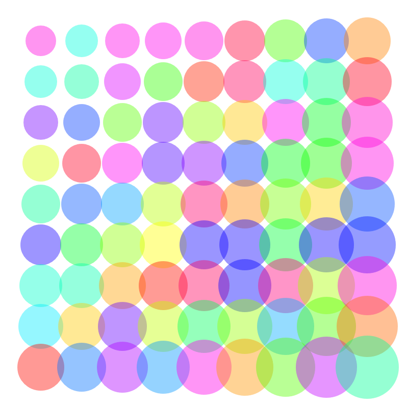 Generative art with circles increasing in size