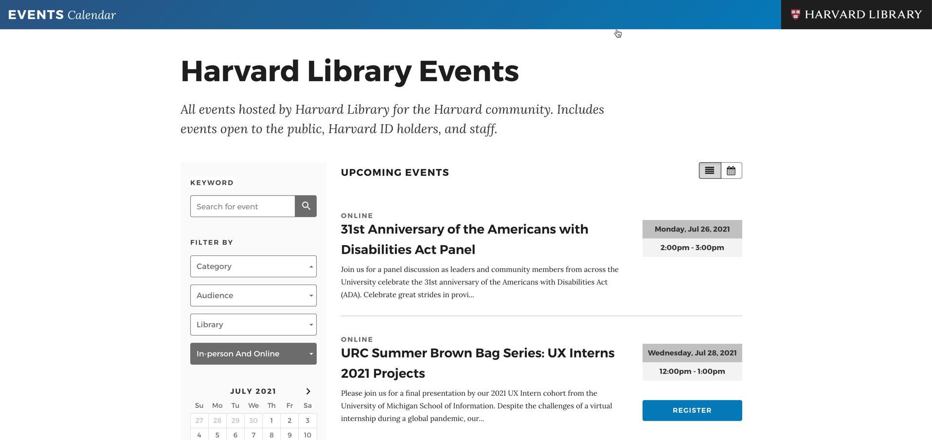 screenshot Harvard Library LibCal