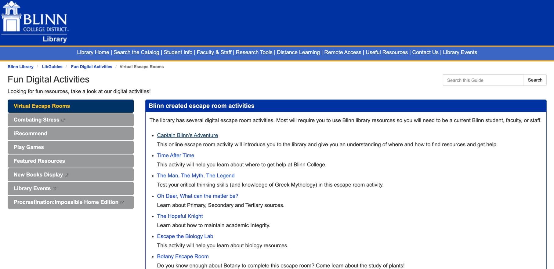 Blinn College Digital Activities List