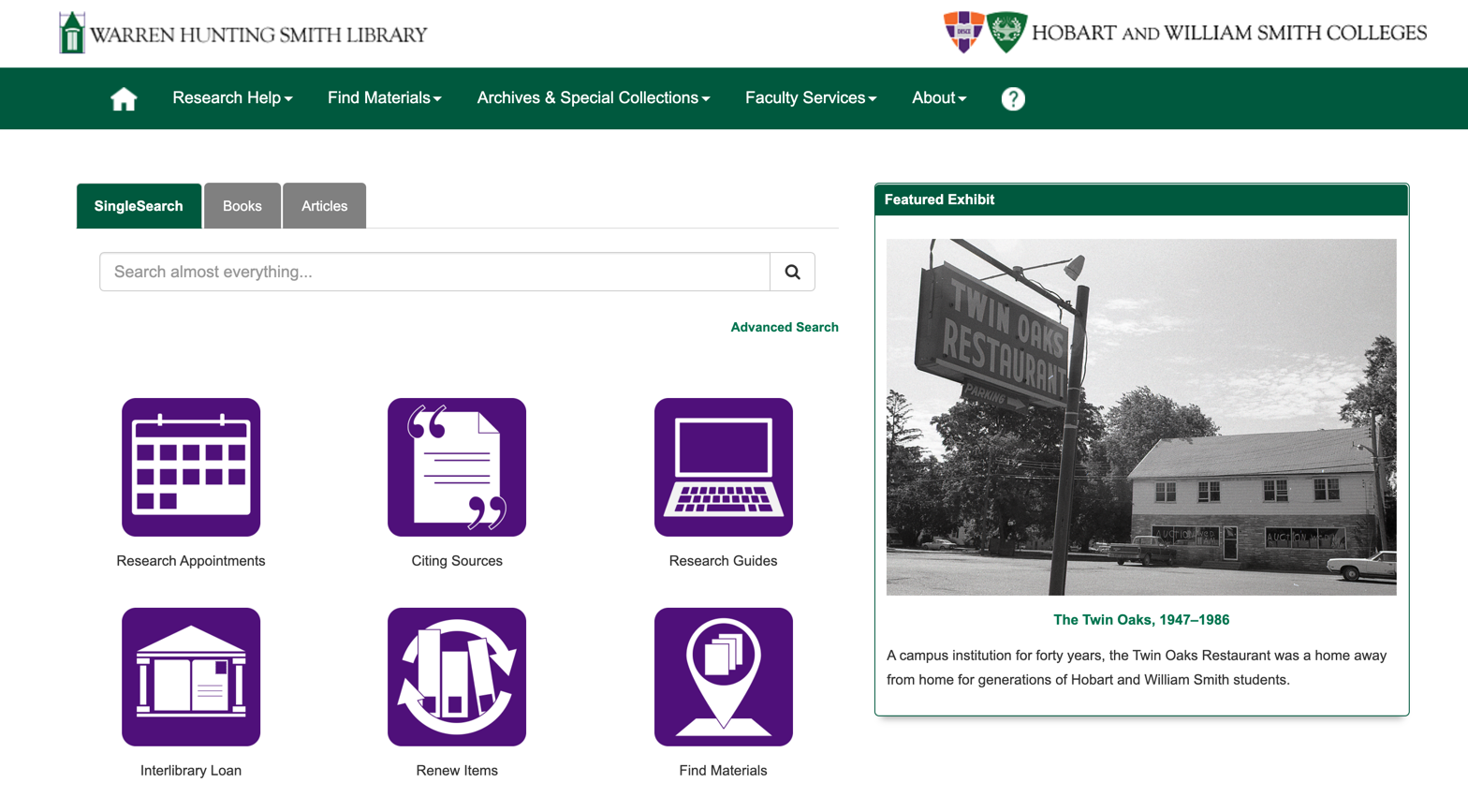 Screenshot Hobart and William Smith Colleges LibGuides Screenshot
