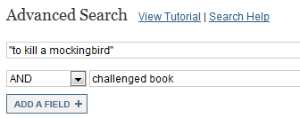"Screenshot of JSTOR advanced search boxes with ""to kill a mockingbird"" in the first box and challenged book in the second"