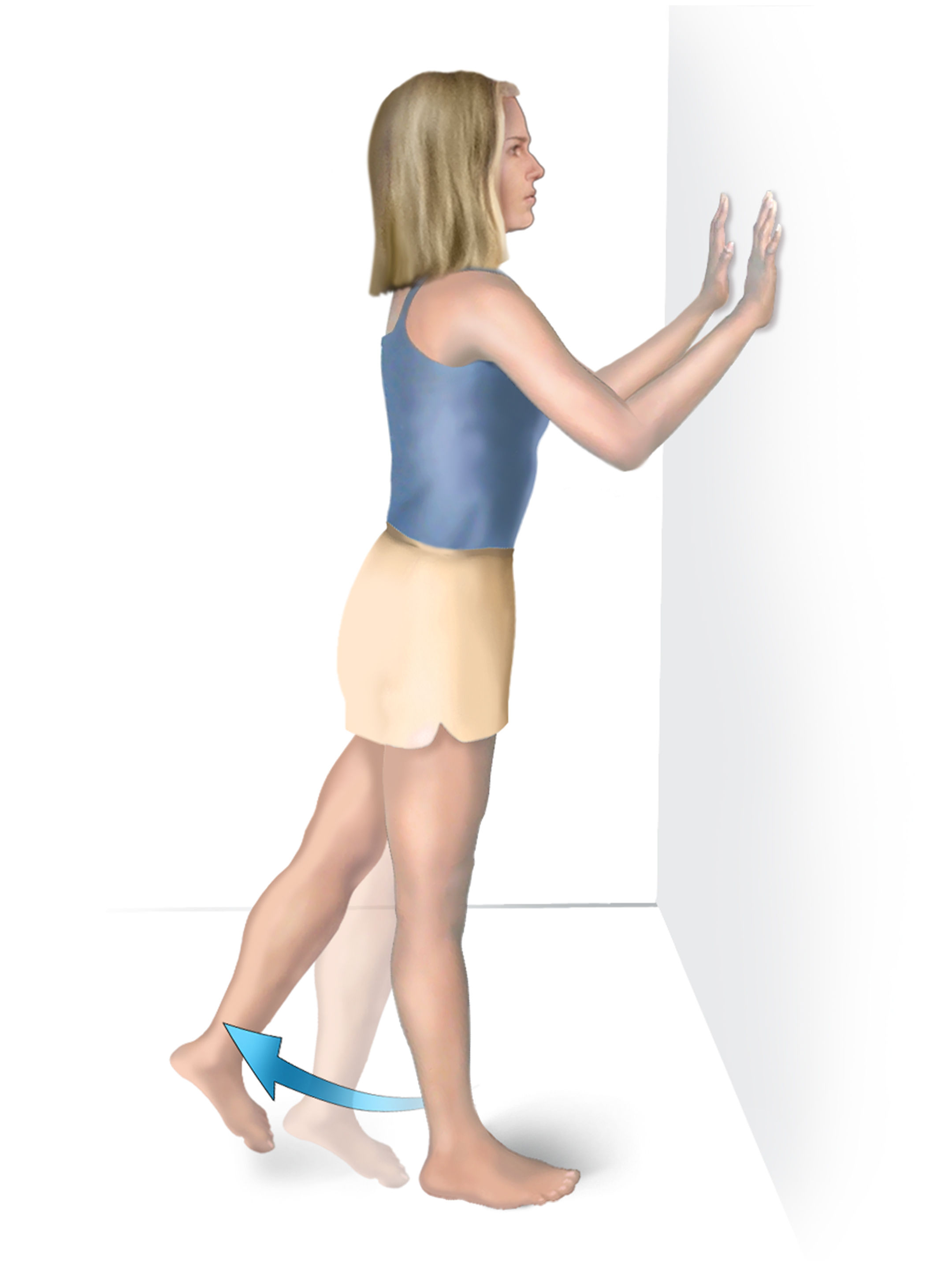 Figure stretching: standing with hands on wall lifting leg behind them