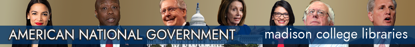 Image: Banner for American National Government research guide with images of national political leaders