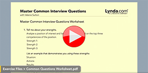 Image: Links to LinkedIn Learning Video on mastering common interview questions