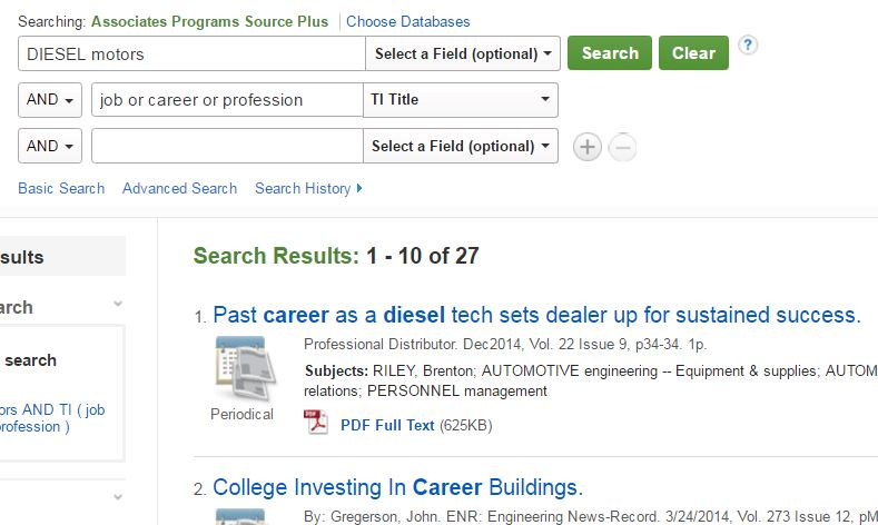 Search boxes with diesel motors and job or career or profession as key words