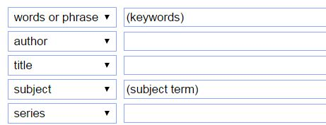 Image: search boxes indicating where keywords or subject terms should go