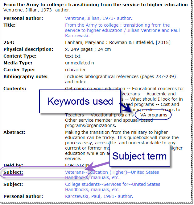 Book record with keywords used and subject term pointed out