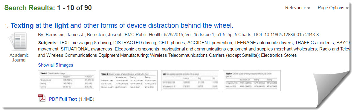 Image: Record of article on distracted driving from library database