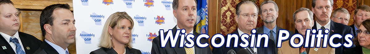 Image: Banner image of WI GOP member of the legislature at a press conference