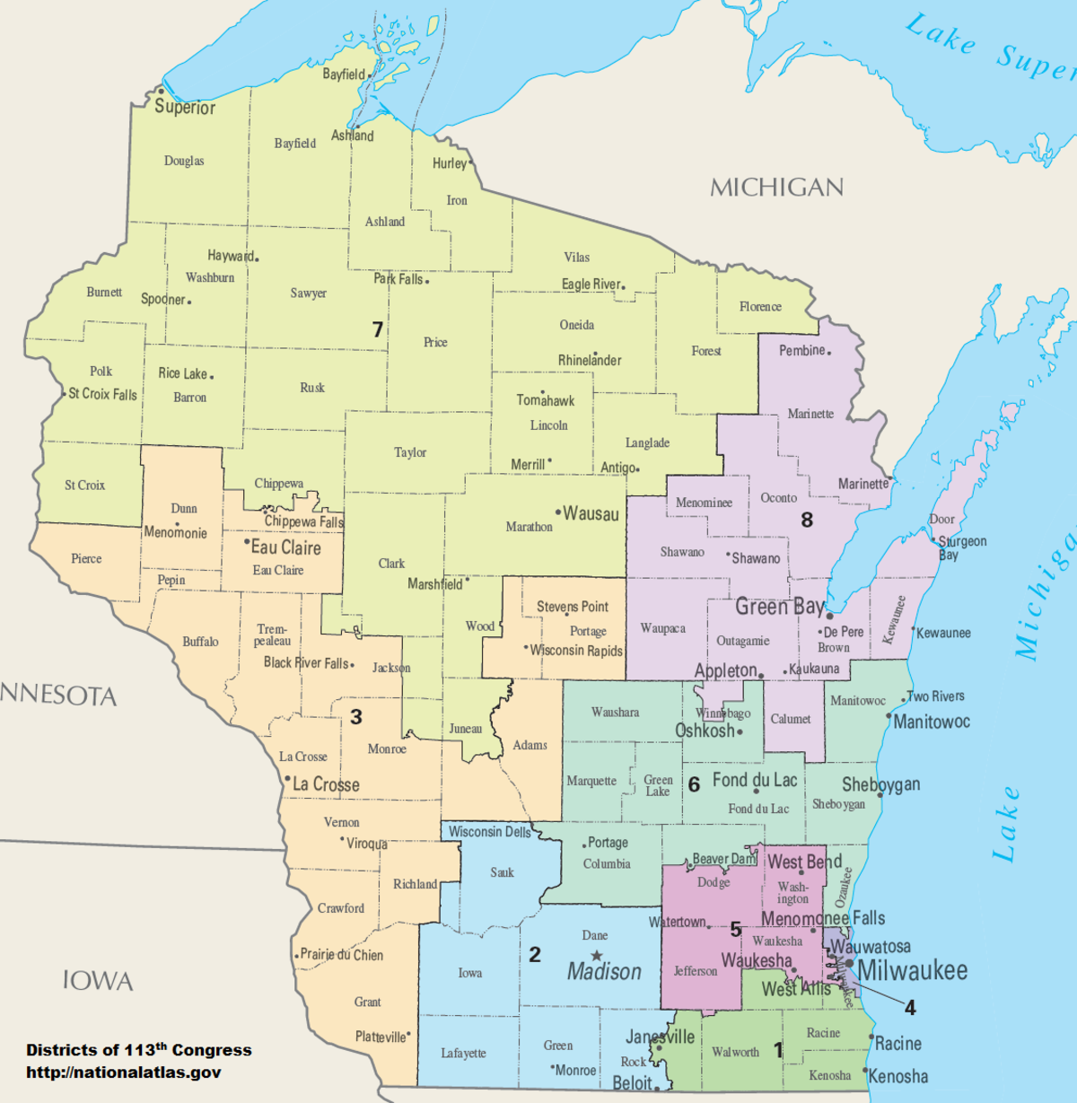 Image: WI Congressional Districts map