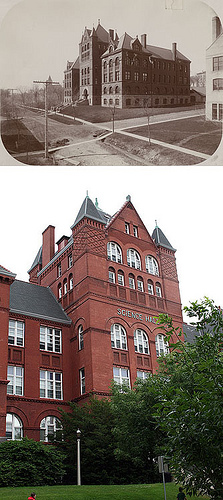 Science Hall, UW Madison, then and now