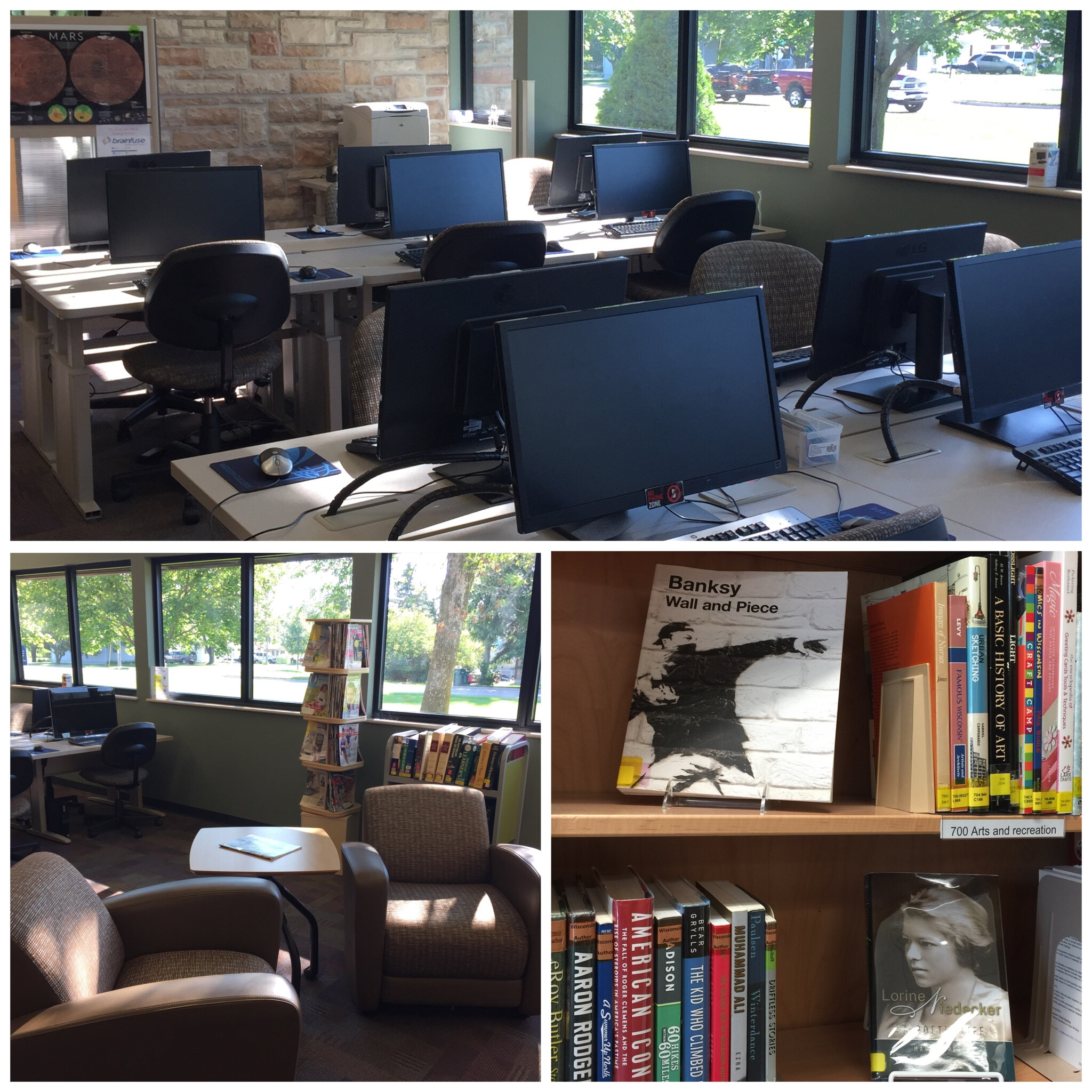 Collage of photos of computer lab, soft seating, and shelves with books