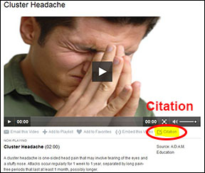 Screenshot of FOD video with citation link circled